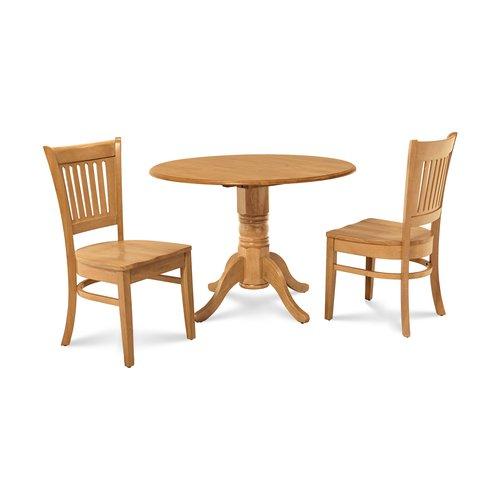 Alcott Hill Thornhill 3 Piece Drop Leaf Solid Wood Dining Set