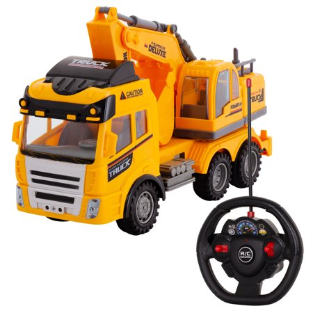 Remote Control Heavy Duty Construction Excavator Truck Forward / Backward Left/Right with Lights, Lift Up The Bucket – 27 MHZ - Great Electronic Car Toys Gift for Your Kids