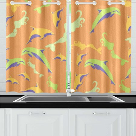 MKHERT Dolphin And Mermaid Window Curtains Kitchen Curtain Room Bedroom  Drapes Curtains 26x39 inch, 2 Piece