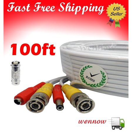 100FT Extension BNC Male Cable for Q-see Indoor Outdoor CCTV security camera kit QT474-411, High Quality Connectors, can use Indoor or Outdoor By WennoW 100' Camera Extension Cable