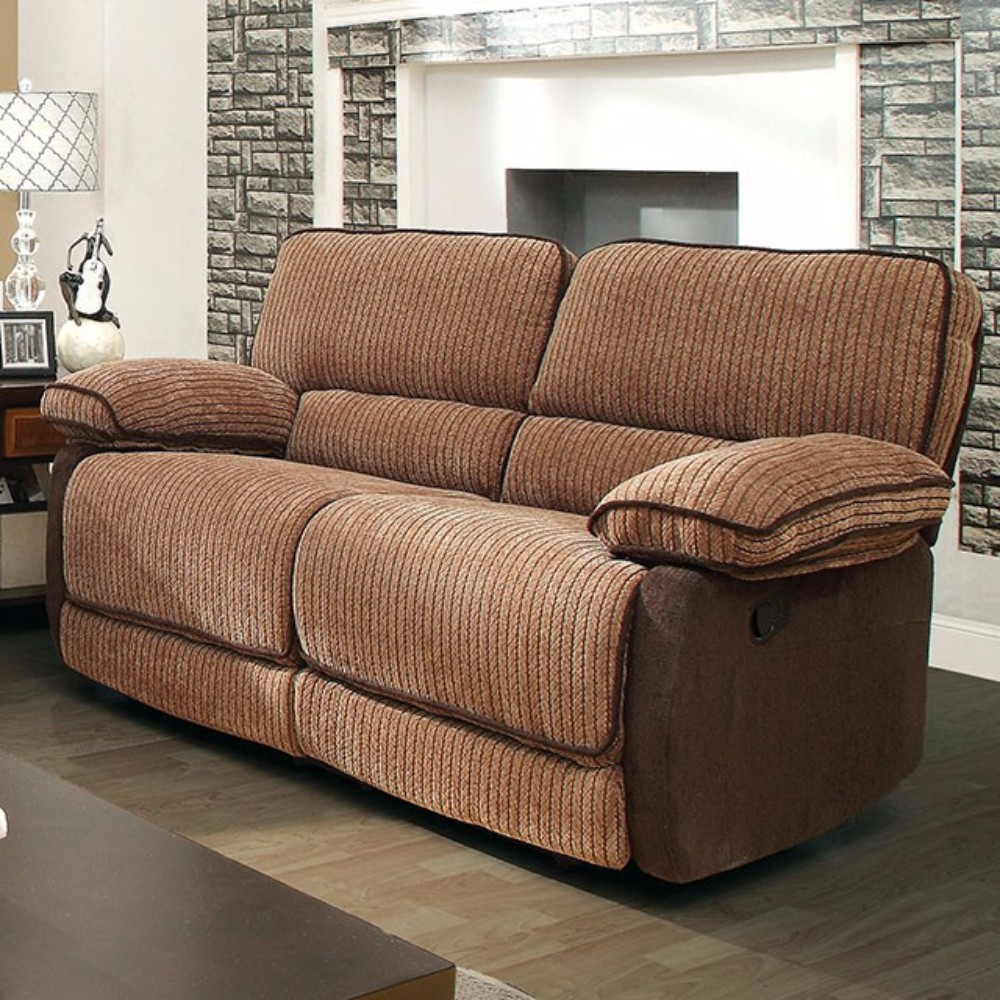 Chenille Fabric Loveseat Recliner, Brown