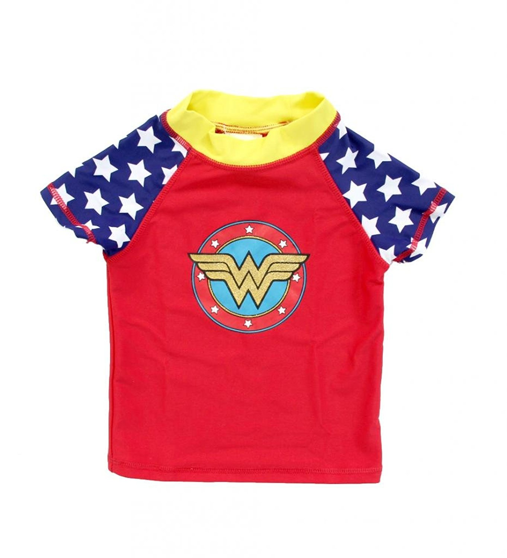 Wonder Woman Shield Short Sleeve Girls Rash Guard by Ingear Fashions