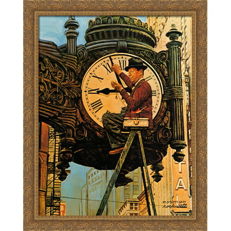 The Clock Mender 28x34 Large Gold Ornate Wood Framed Canvas Art by ...