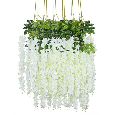 12 Piece 3.6' Artificial Silk, Wisteria Vine Ratta Hanging Flower Garland String for Home Party Wedding Decor,](Purple Weddings)