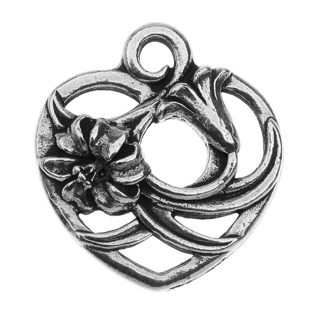 TierraCast Pewter Pendant, Floral Heart 20mm, 1 Piece, Silver Plated