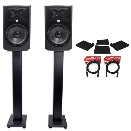 2 jbl 308p mkii 8 powered studio monitors stands isolation pads xlr cables. Black Bedroom Furniture Sets. Home Design Ideas