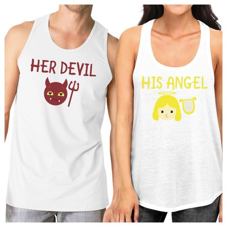 Her Devil His Angel White Tank Tops Graphic Matching Couples - Angel And Devil Couple Costume