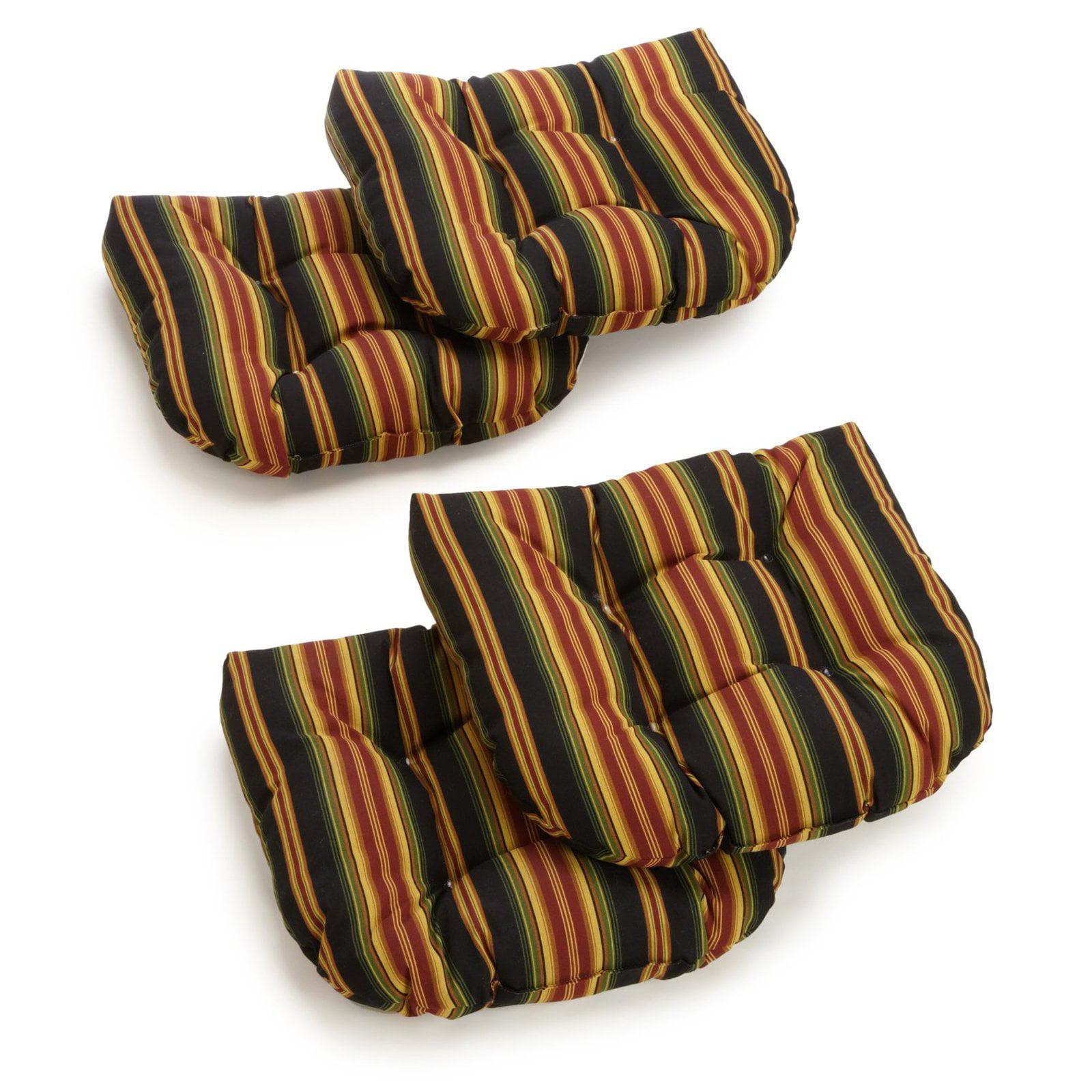 Blazing Needles Reo Striped Outdoor U Shaped Chair Cushion