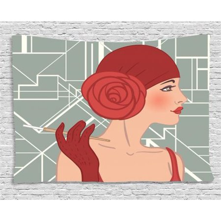 Old Hollywood Tapestry, Lady Figure with Bandana and Rose on Geometric Pattern Background, Wall Hanging for Bedroom Living Room Dorm Decor, 60W X 40L Inches, Ruby Grey and White, by Ambesonne - Old Hollywood Themed Room