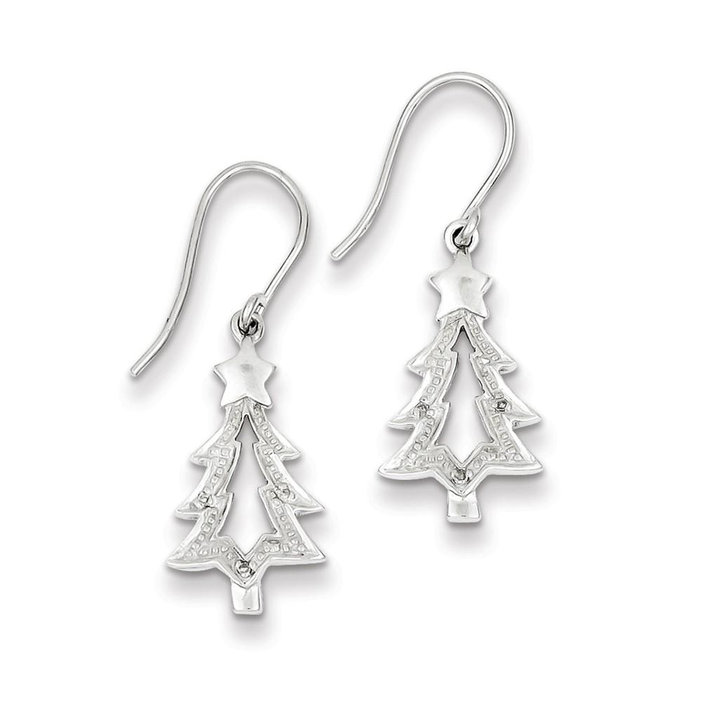 Sterling Silver Rhodium Plated Diamond Tree Dangle Earrings. Carat Wt- 0.02ct (0.7IN x 0.3IN )