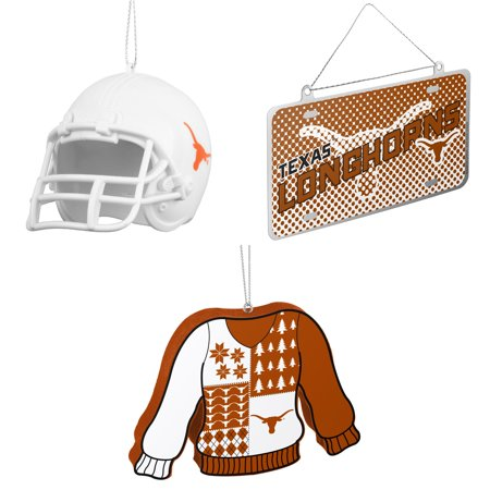 NCAA Texas Longhorns ABS Helmet Ornament Metal License Plate Christmas Foam Ugly Sweater Bundle 3 Pack By Forever Collectibles