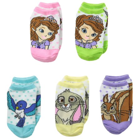 Sofia the First Little Girls' Patterned Print No-Show Socks (Pack of Five) Pastel Colors Size 6-8.5 - Sofia The Frist