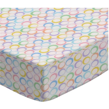 SheetWorld Fitted Oval (Stokke Mini) - Pastel Colorful Rings Woven