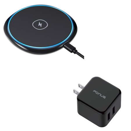 Z30 Accessory Kit (7.5W and 10W Fast Charge Wireless Charger Slim Charging Pad w 30W Compact Adaptive Fast 2-Port USB Home Wall AC Charger E7M for iPhone XS Max XR X 8 PLUS - ASUS Google Nexus 7 - Blackberry Z30 )