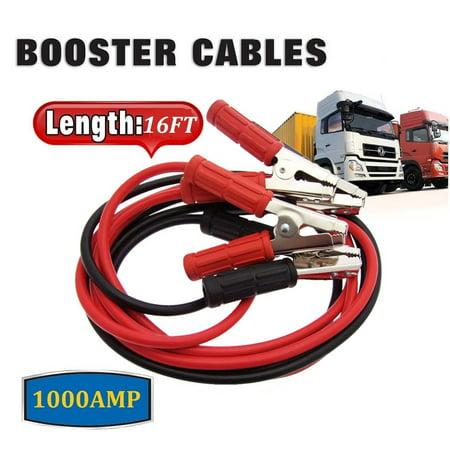Car Jumper Cables, 16' Feet Long, 4-Gauge, 1000AMP
