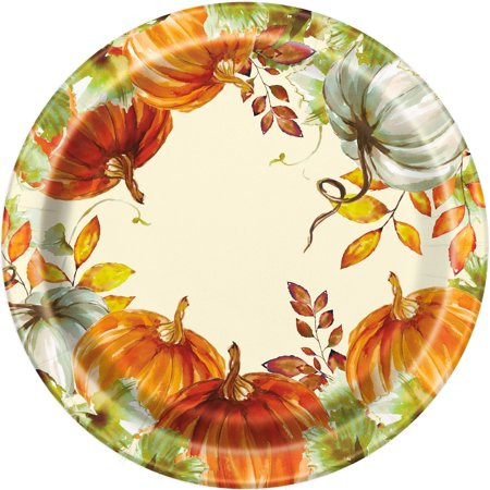 Watercolor Pumpkins Fall Dinner Paper Plates, 10.25 in, 8ct - Thanksgiving Plates