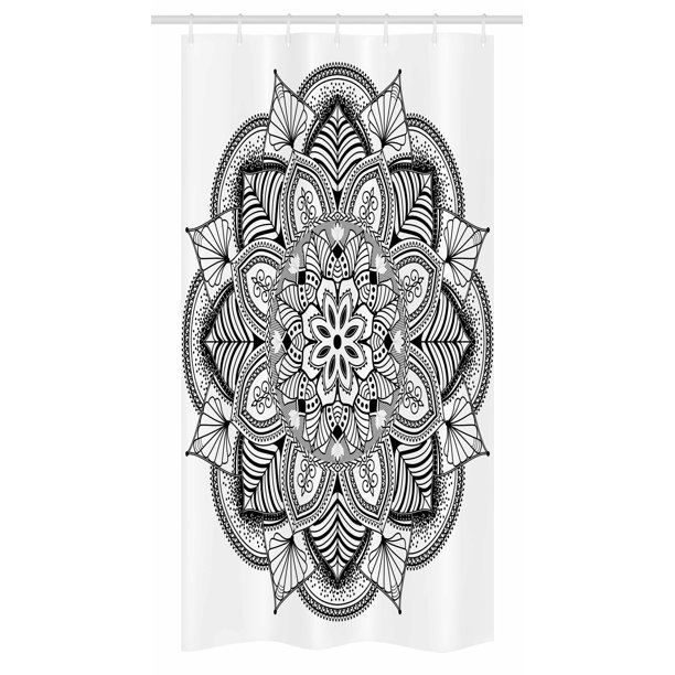 Mandala Stall Shower Curtain Ringed Ethnic Floral Pattern With Ornate Tile And Lines Boho Circle Art Motif Fabric Bathroom Set With Hooks 36w X 72l Inches Long Black White By Ambesonne