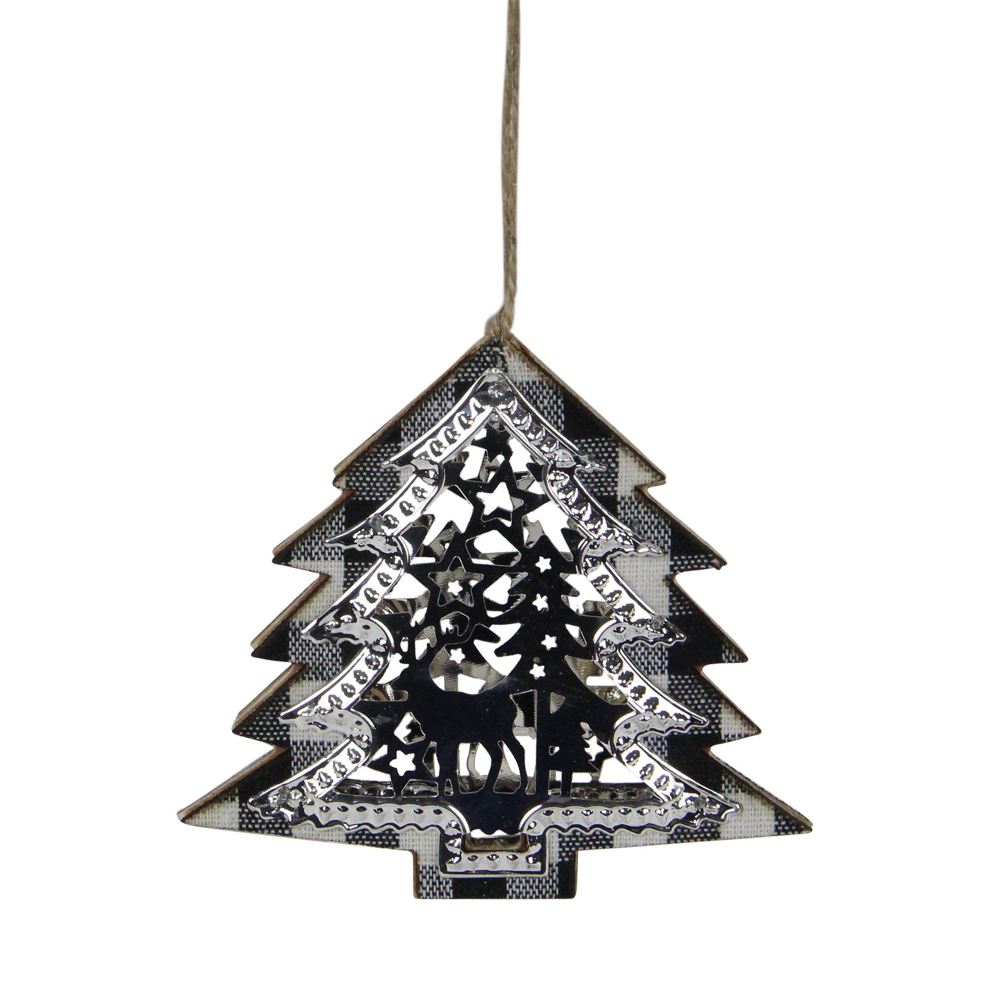 4 25 Black And White Buffalo Plaid Christmas Tree Shaped Reindeer Ornament Walmart Com Walmart Com