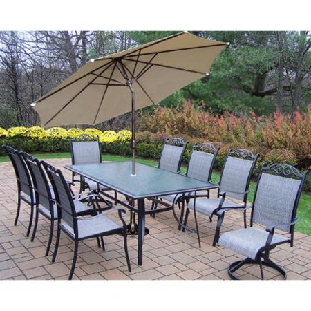Aluminum Sling 11 Dining Set Coffee Color Brown Umbrella 1200 Product Photo