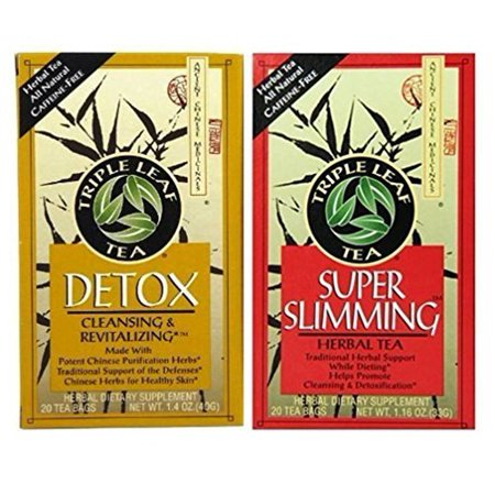Triple Leaf Caffeine Free Herbal Tea 2 Flavor Variety Bundle: (1) Triple Leaf Chinese Detox Tea (20 count), and (1) Triple Leaf Super Slimming Tea (20 Count) Chinese Herbal Slimming Tea