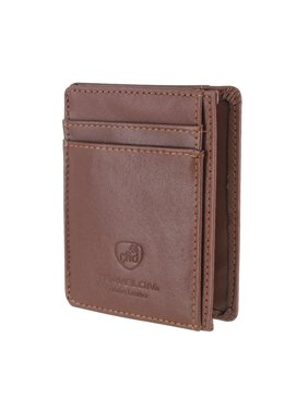 Leather Hack-Proof RFID Blocking Cash Card Sleeve and Wallet Brown