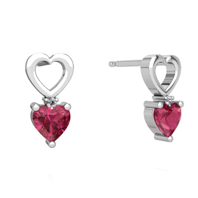 Pink Tourmaline Hearts and Hearts Earrings in 14K White Gold by