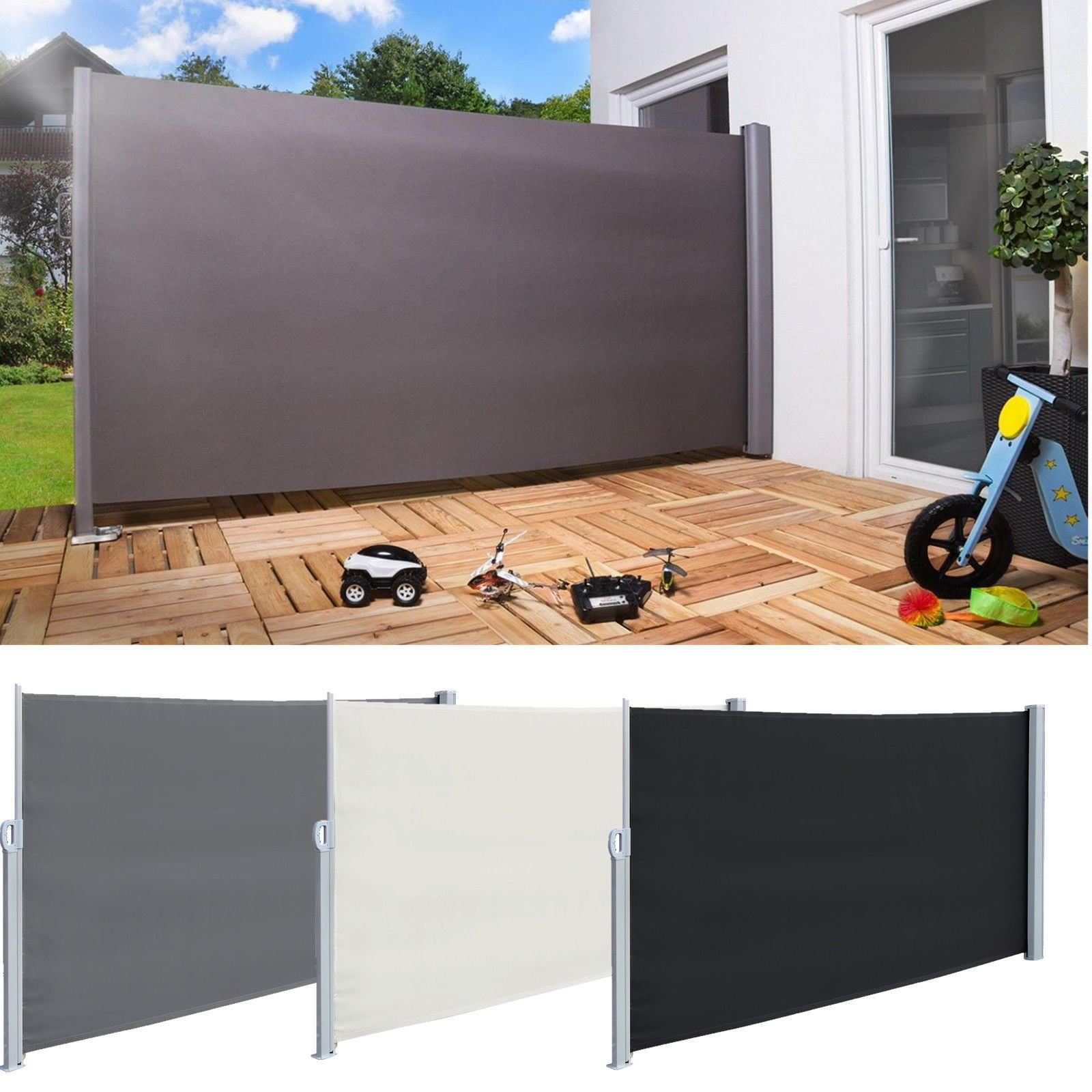 5.9/'x9.8/' Sunshade Retractable Side Awning Outdoor Privacy Divider Wind Screen
