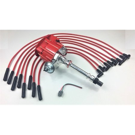 bbc chevy 396 454 502 hei distributor + red 8mm spark plug wires straight  boot - walmart com