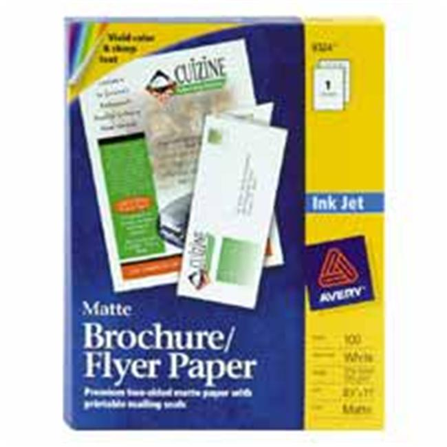 Avery Consumer Products AVE8324 Ink Jet Brochures- 8-. 50inchx11inch- Matte White