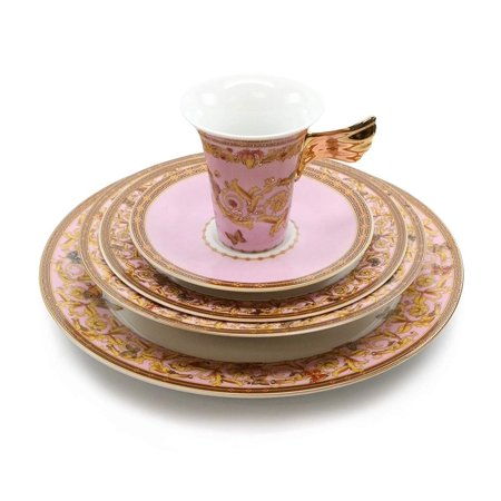 - Royalty Porcelain Vintage Pink 5-pc Place Setting 'Ladybug', Premium Bone China