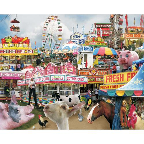 """Jigsaw Puzzle Downhome Favorites 1000 Pieces 24""""X30""""-County Fair"""