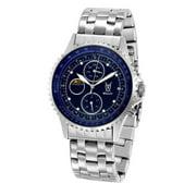 Mens Watch Silver Tone Stainless Steel Bracelet Big Blue Dial Multifunction Day Date Reloj de Hombres