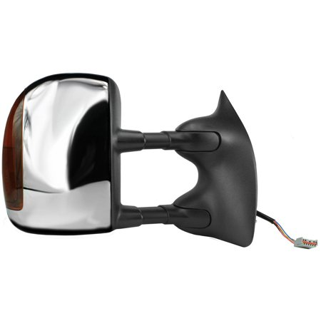 61215F - Fit System Passenger Towing Mirror for 01-05 Ford Excursion, 01-07 Ford F250, F350, F450, F550 Super Duty Pick-Up from 02/18/01, blk/ chrome cover, signal, dual lens, fold, Heated Power