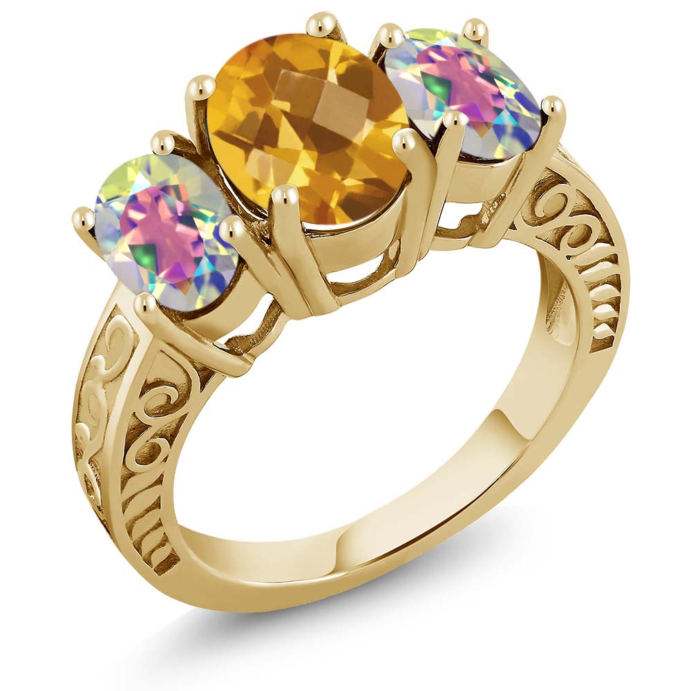 2.90 Ct Yellow Citrine and Mercury Mist Mystic Topaz 18K Gold Plated Silver Ring