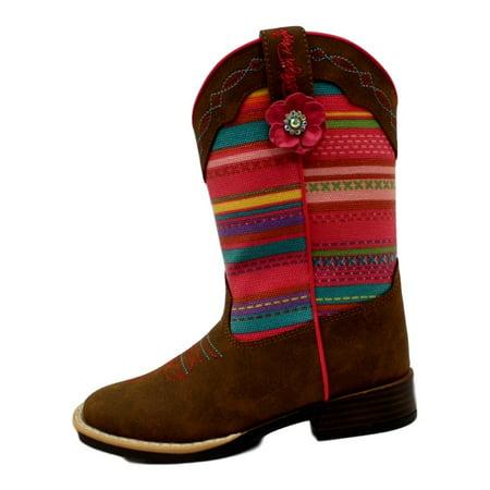 Blazin Roxx Western Boots Girls Camilla Striped Flower Brown 4449844