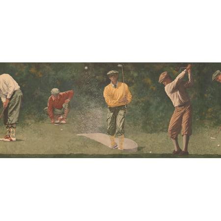 Vintage Golf Play Sports Green Extra Wide Wallpaper Border Retro Design, Roll 15' x 11'' - image 3 de 3