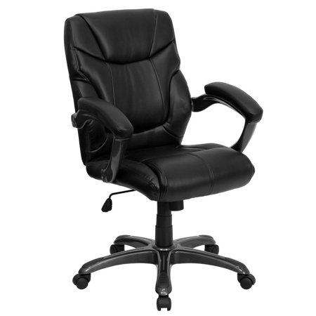 Mid-Back Black Leather Overstuffed Swivel Task Ergonomic Office Chair with Arms ()