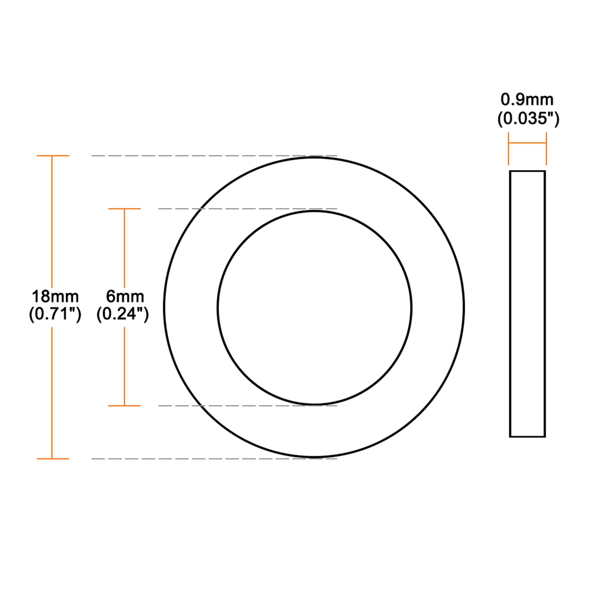 Nylon Flat washers for M6 Screw Bolt 18 mm OD 0.9 mm Transparent Thickness 50PCS