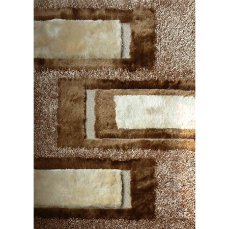 Indoor Durable Beige Shag 100 Percent Polyester Hand Tufted & Hand Made Doormat Area Rug (Exact Size 2 Feet x 3 Feet) ()