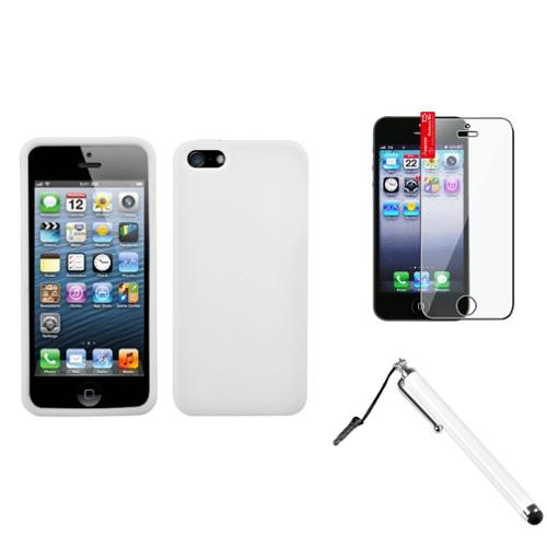 Insten Solid Skin Case (White) For Apple iPhone SE 5S 5 + Stylus + Protector
