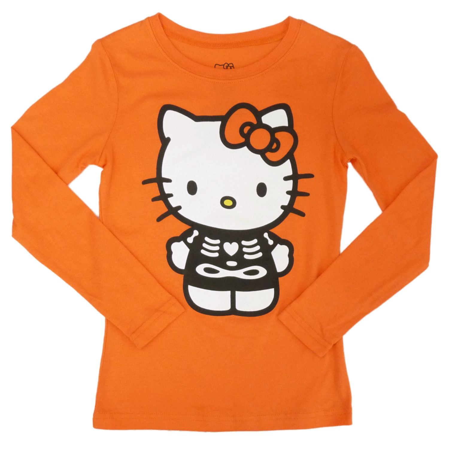 Hello Kitty Girls Orange Glow In The Dark Halloween Shirt