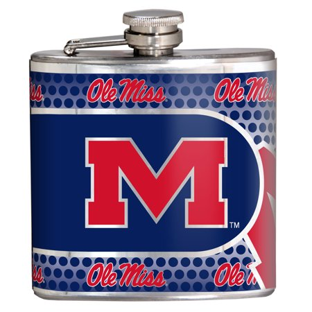 Ole Miss Rebels 6oz. Stainless Steel Hip Flask - Silver - No - Ole Miss Stainless Steel