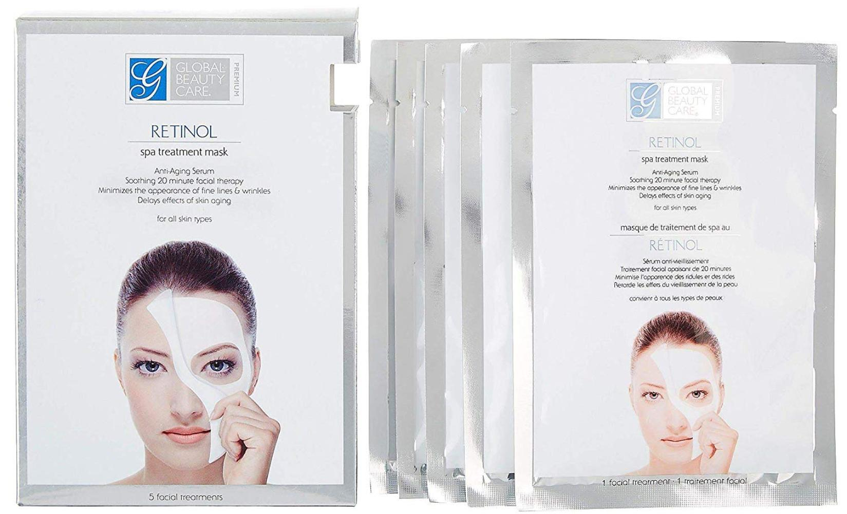 Retinol Spa Anti Aging Treatment Mask Pack Of 5 Soothing 15