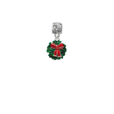 Enamel Wreath with Bow - Paw Print Charm Bead