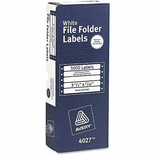 "Avery Dot Matrix File Folder Labels, 7/16"" x 3-1/2"", White, 5,000-Pack"