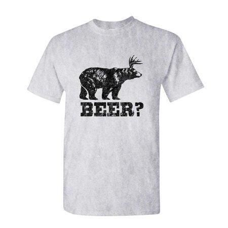 RETRO DEER BEER BEAR - funny frat party - Mens Cotton T-Shirt