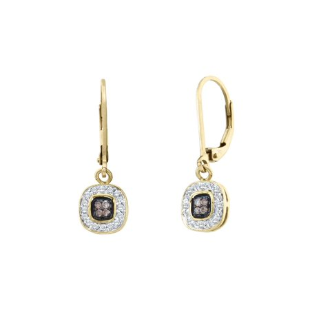 Gold Champagne Diamond Earrings - White and Champagne Diamond Earrings 1/4 Carat (ctw) in 14K Yellow Gold