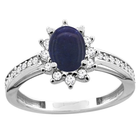 14K White/Yellow Gold Natural Lapis Floral Halo Ring Oval 7x5mm Diamond Accent, sizes 5 - 10
