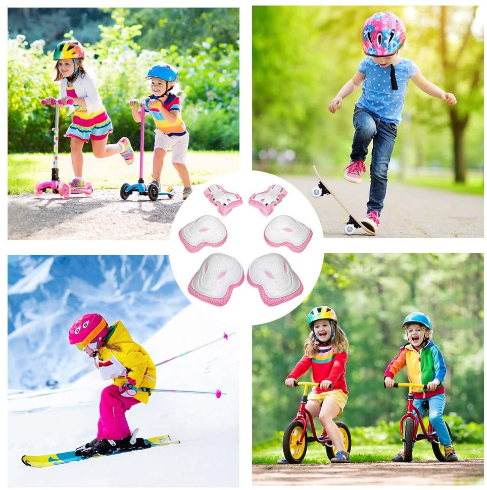 6PCS Kids Protective Gear Set Wrist Guards Safety Equipment for Toddler Children Skating Cycling Bike Rollerblading Scooter Skateboard Outdoor Sports Children Knee Pad Elbow Pad