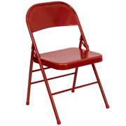 HERCULES Series Triple Braced & Quad Hinged Metal Folding Chair-Color:Red